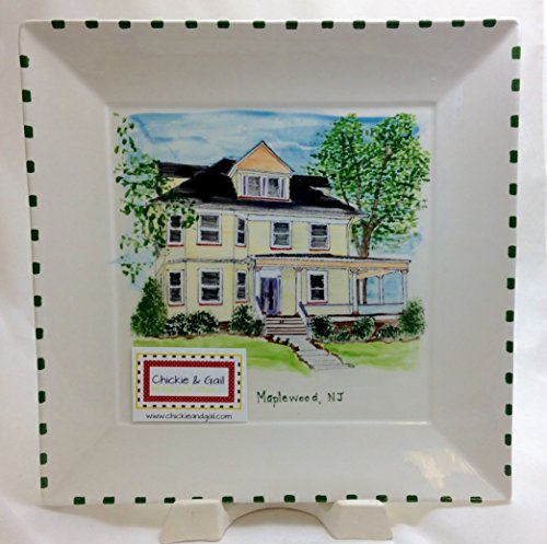 Custom Painted House - Painted On Square Plate (Square Corners Style)