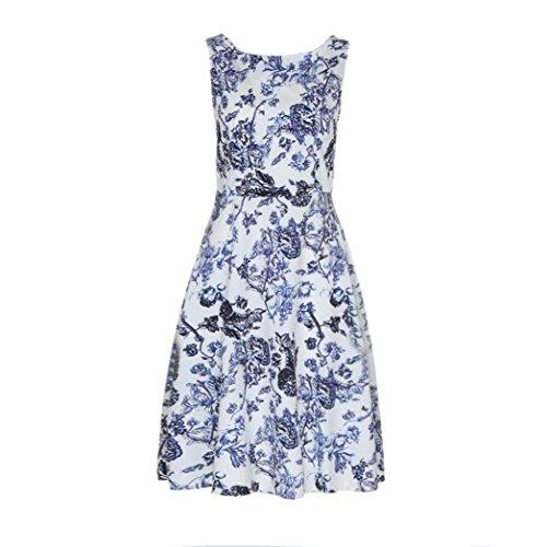 asill ღ Hot Sale ! Sleeveless O Neck Vintage Dress Evening Party Causal Dresses Skirt Blouse Tops (XL, white) ()