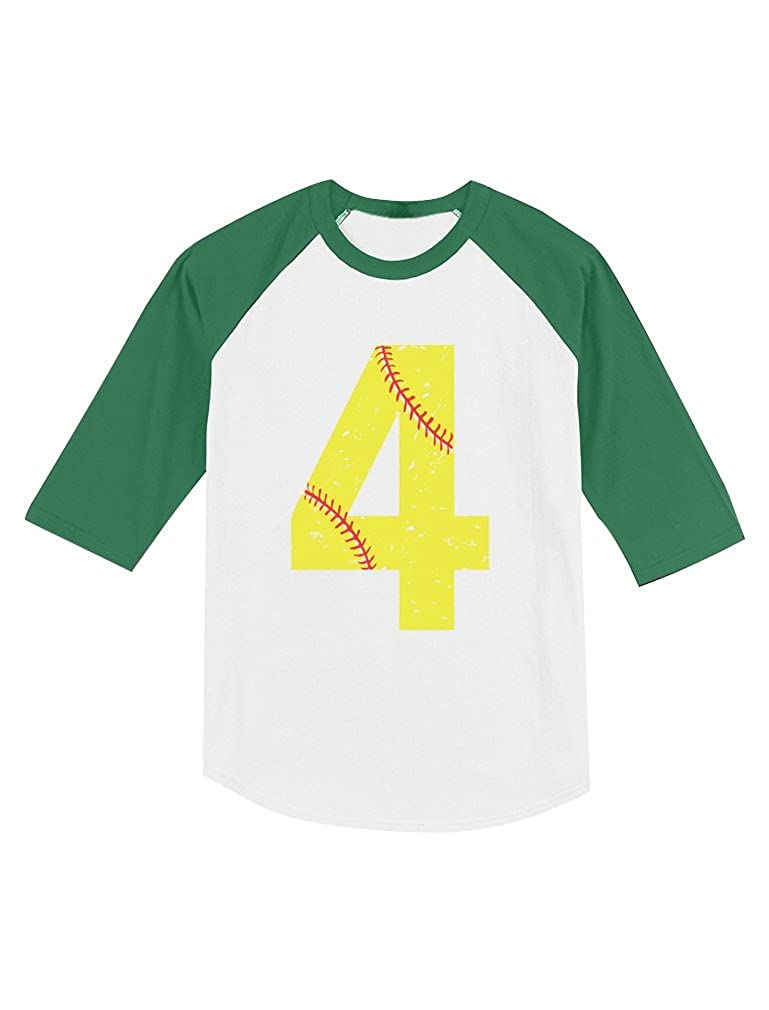Softball 4th Birthday Gift for 4 Year Old Toddler Raglan 3//4 Sleeve Baseball Tee