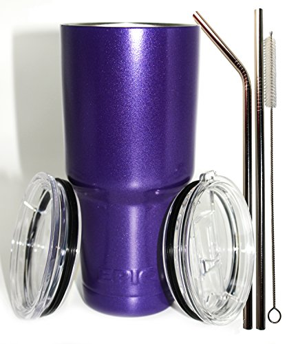 EPIC 30 oz Purple Vacuum Insulated Tumbler 6 Pcs Set - USA Custom Powder Coated Cold Cup - Coffee Mug with 2 Lids,2 Stainless Steel Straws and Brush - Great Value