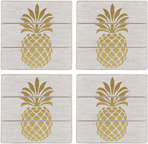 Coasters Pineapple - Home Essentials Square White Wood With Gold Pineapple Coasters Kitchen Accessories Set of 4