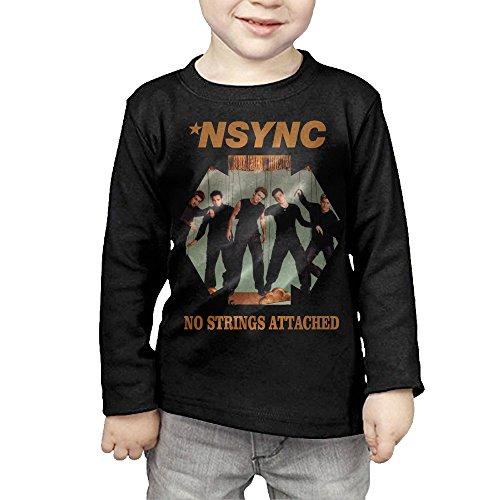 MHGJ Kids Boy's & Girl's N Sync-No Strings Attached Long Sleeve T-shirt Tops 2 Toddler Black