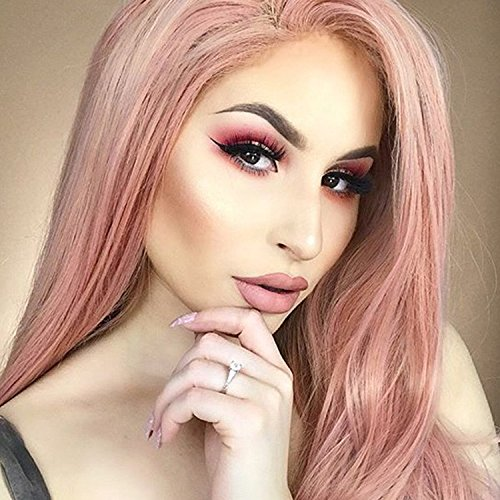 GNIMEGIL Trendy Hairstyles Long Water Wave Hair Replacement Wigs for Women Colored Coral Pink Cosplay Wigs in Heat Friendly Fiber Synthetic Hair Full Natural Wigs