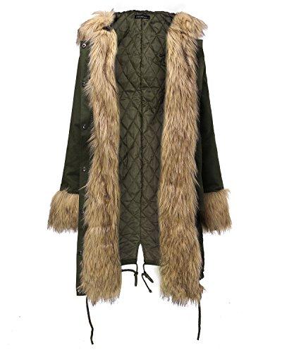 Veste Zanzea Longue Epaise Femme Militaire Fleece Parkas Capuche Hiver Manteau Fourrure Blouson Longue Chaud Vert1 rqRrwP