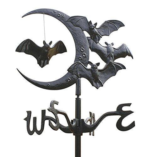 Design Toscano Halloween WH60121 Mondsichel mit Vampir Fledermäusen aus Eisen Dach oder Garten Wetterfahne