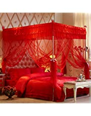Mengersi Princess 4 Corners Post Bed Canopy Bed Curtains (Full, Red)