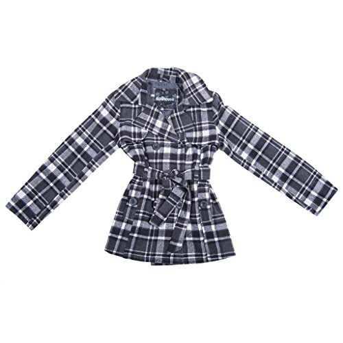 Coat Lightweight Trench Belted - [39724-BLK-14/16] Girls Plaid Jacket: Belted Trench Coat Toddler Little Big Girl