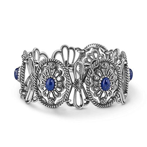 UPC 790565205407, American West Genuine .925 Sterling Silver Blue Lapis Concha Link Bracelet