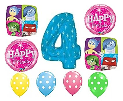 Amazon Inside Out Happy 4th Birthday Balloon Decoration Kit By Party Supplies Toys Games