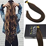 [Hot Sale]Sunny 14INCH Itip Hair Extensions Human Hair Color #2 Darkest Brown Mixed #8 Light Brown 100% Remy Human Hair I Tip Extensions 50g Per Package