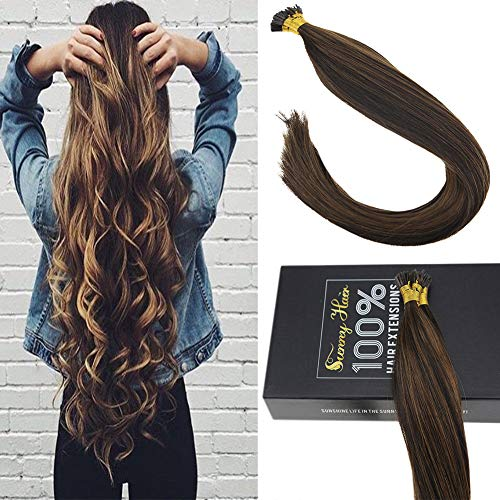 Sunny 14INCH Itip Hair Extensions Human Hair Color #2 Darkest Brown Mixed #8 Light Brown 100% Remy Human Hair I Tip Extensions 50g Per Package