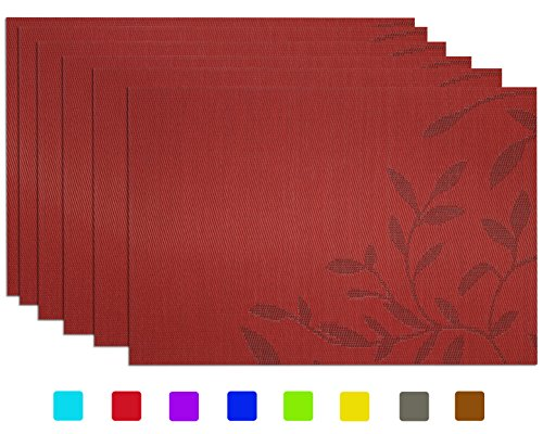 Set of 6 Placemats, Tennove Woven Vinyl Table Mats Heat-resistant Non-slip Insulation PVC Placemats for Kitchen Dining Table Decoration (Thanksgiving Placemat)