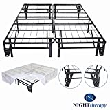 Night Therapy Platform Metal Bed Frame/Foundation Set(SmartBase + Metal Brackets for Headboard & Footboard + Bed Skirt – Cal King) – No Box Spring needed