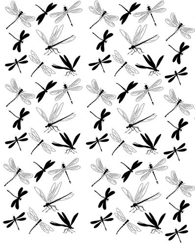 Black Dragonflies - 78922 - Ceramic Decal - Enamel Decal - Glass Decal - Waterslide Decal - 3 Different Size Sheet (Images) to Choose from. Choose Either Ceramic (Enamel) or Glass Fusing Decals