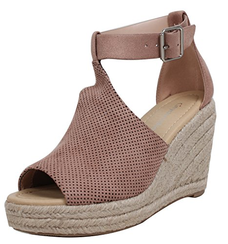 City Classified Womens Peep Toe Perforated Ankle Strap Espadrilles Wedge