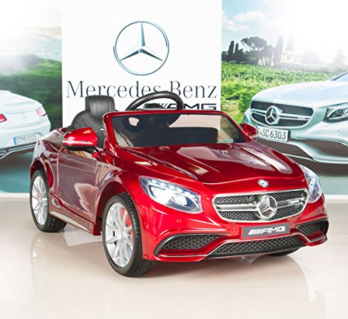 51C3dVruGZL - BIG TOYS DIRECT Mercedes-Benz S63 Ride on Car Kids RC Car Remote Control Electric Power Wheels W/ Radio & MP3 Red