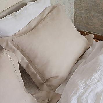 Linenme Hemstitch 50 x 75 cm Oreiller en Lin Platine