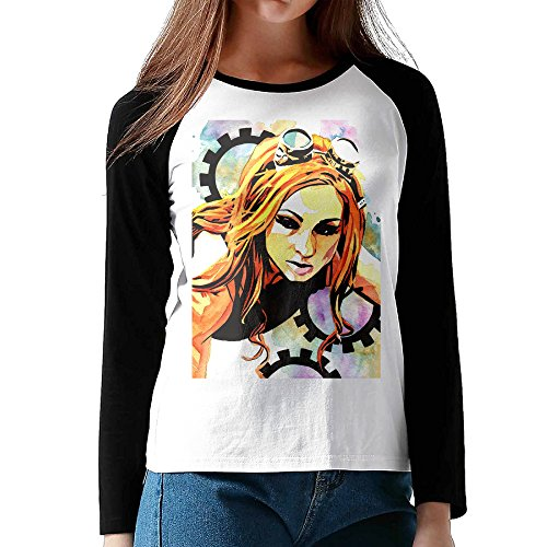 Black Moisture Wicking Cool Lady Becky Lynch Wwe Raglan Shirt (Wwe Diva Outfits)