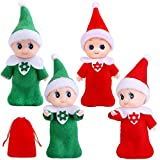 RUODON 4 Pack Elf Twins Christmas Elf Doll Shelf Doll Elf Tiny Elf Toys Elf Boy Baby Baby Girl Twins for Christmas New Year Decoration Gift and Advent Calendars Xmas Stocking Stuffers (Red and Green)