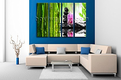 Large Relaxing Spa Feng Shui Floral Picture Modern Home Decor Canvas Print, Large floral Wall Art, Living Room, Sapphire by Bo Yi Wall Art (Image #2)