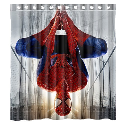 Home&Family Custom the Amazing Spiderman Waterproof Bathroom Shower Curtain with Hooks Polyester Fabric Bathroom Shower Curtain with Hooks ize 66 X 72