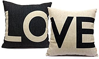 "NYKKOLA 18 X 18"" Decorative Cotton Linen Throw Pillow Cover Cushion Case Couple Pillow Case, Set of 2 - Love"
