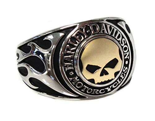Harley-Davidson Mens Willie G Skull Flames Signet Ring (10) Flame Skull Ring