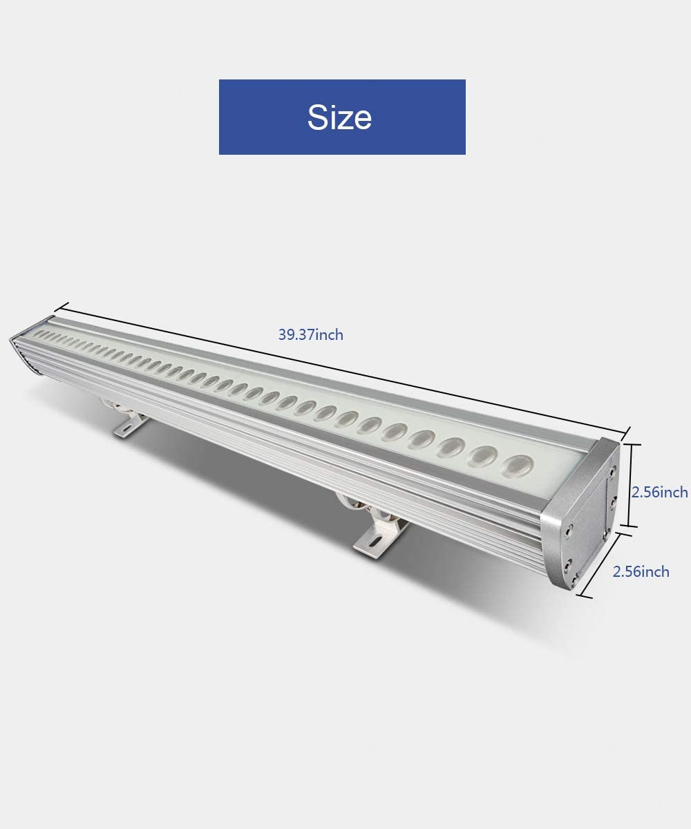 ATCD 108W RGBW LED Wall Washer Light, Color Changing, 3.2ft 40 Linear Commercial Strip Light with RF Remote, 120V, Ideal for Outdoor Indoor Lighting Projects, Building Decoration,Warehouse