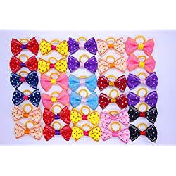 Yagopet 40pcs/20pairs New Dog Hair Bows Rubber Bands Choose 20 Styles Small Bowknot Pet Grooming Products 1.38inches Mix Colors Pet Hair Bows Topknot Dog Accessories Pet Grooming Products (Style 17)