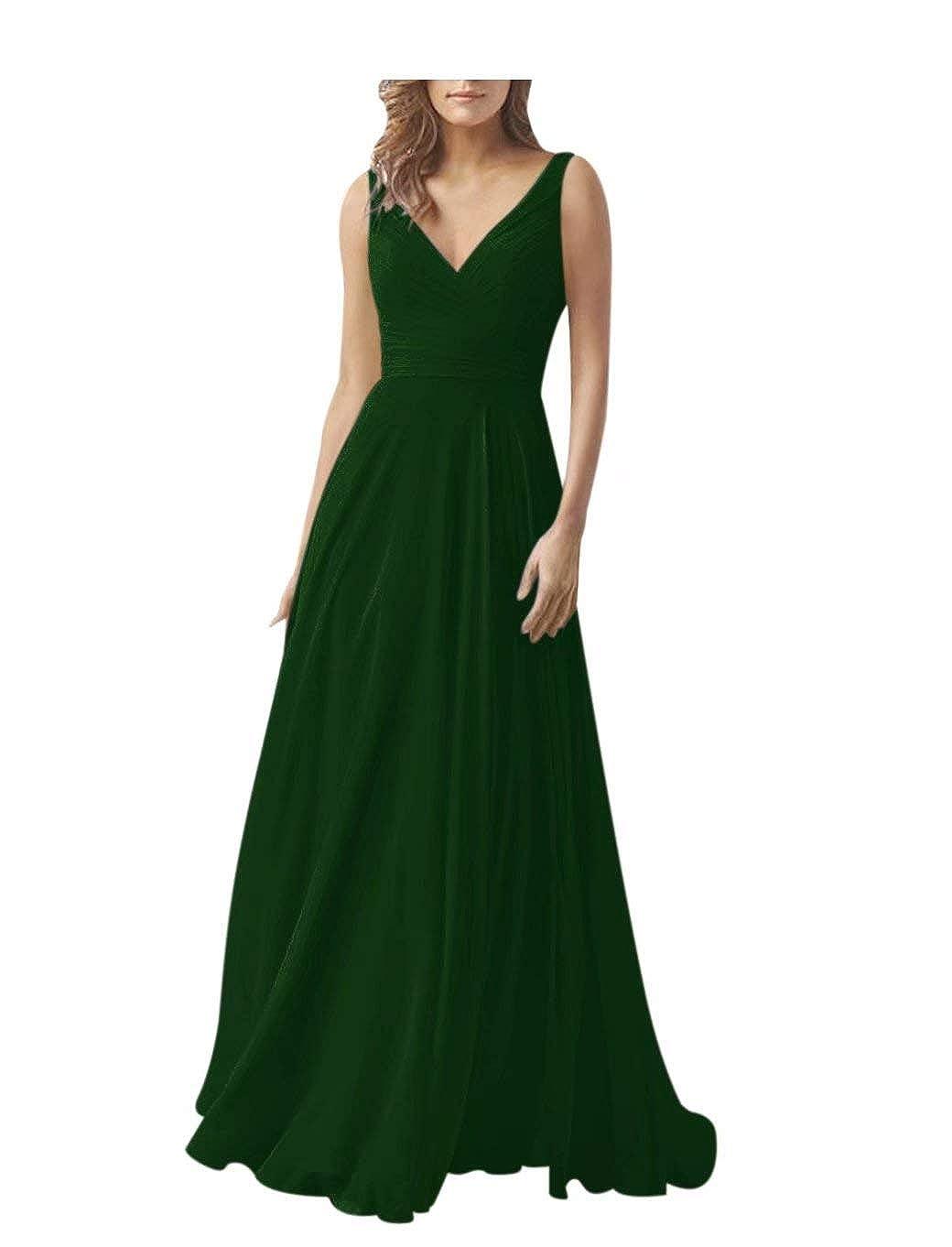 XJLY Womens A Line V Neck Chiffon Bridesmaid Dresses Evening Dress Party Dress