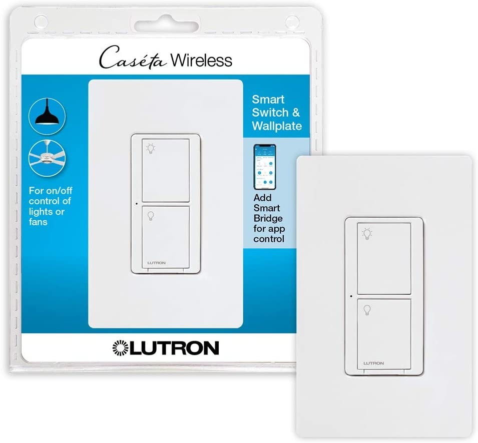 Lutron Caseta Smart Home Switch with Wallplate, Works with Alexa, Apple HomeKit, and Google Assistant | 5-Amp, for Ceiling and Exhaust Fans, LED Bulbs, Incandescent and Halogen | PDW-5ANS-WH-A | White