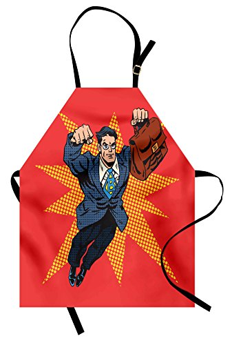Lunarable Retro Apron, Businessman Superhero with Muscular Briefcase Comic Book Style Pop Art Illustration, Unisex Kitchen Bib Apron with Adjustable Neck for Cooking Baking Gardening, (Comic Book Pop Art Costume)