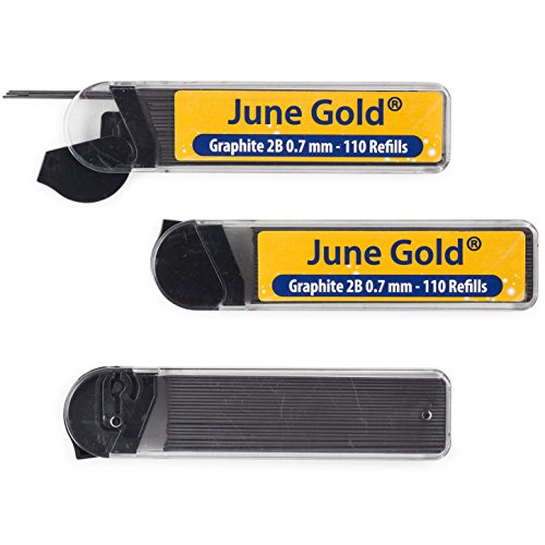 June Gold 330 Lead Refills  0 7 Mm 2B  Medium Thickness  Break Resistant Lead  Graphite  With Convenient Dispensers
