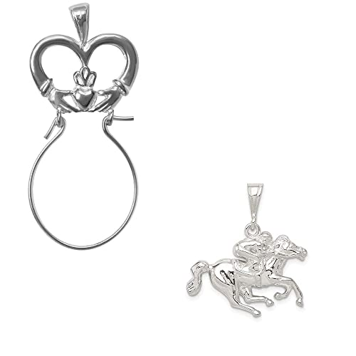 Mireval Sterling Silver Race Horse Charm on an Optional Charm Holder