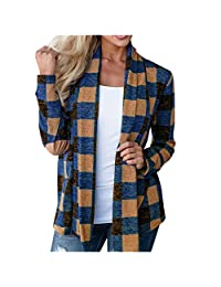 VEZAD Store Womens Casual Plaid Open Cardigan Loose Long Sleeve Kimono Splice Winter Coat