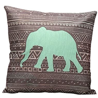 DolphineShow Cotton Linen Square Green Elephant Pattern Pillow Shams Sofa Decorative Throw Pillow Case Cushion Cover 18x18