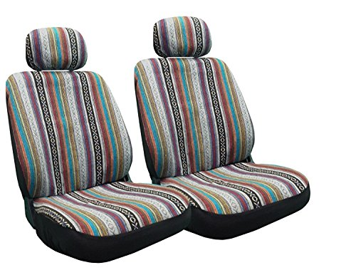 (4 Pc Universal Baja Inca Saddle Mexican Blanket Front Seat Covers Pair Low Back)
