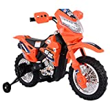 Orange Kids Ride On 6V Battery Powered Electric Motorcycle With Training Wheel