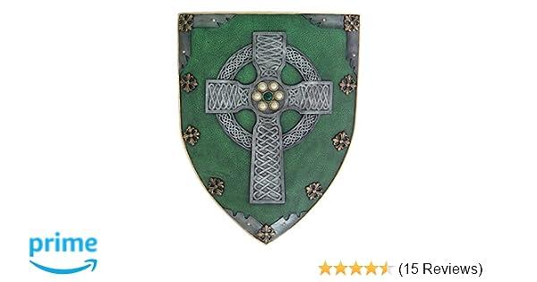 264b9b2785a Amazon.com  Pacific Giftware Celtic Cross Warriors Faith Shield Wall  Sculpture Decor  Home   Kitchen