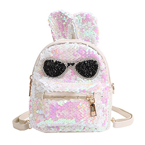 (Cute Mini Sequin Backpack Dazzling Rabbit Ear Shoulder Bag Daypack for Little Girls)