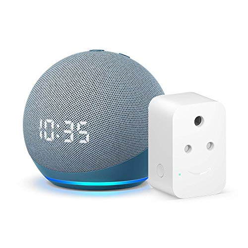 Echo Dot (4th Gen, Blue) with clock bundle with Amazon 6A Smart Plug – Easy Set-Up