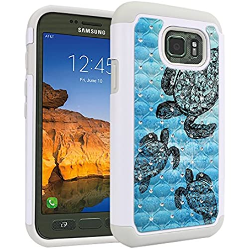 Samsung Galaxy S7 Active G891 Case, Fincibo (TM) Dual Layer Shock Proof Hybrid Hard Protector Cover anti-drop Silicone Star Studded Rhinestone Bling, Ocean Sales