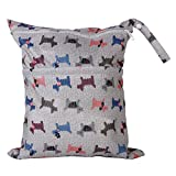2-Zip Washable Baby Cloth Diaper Nappy Bag Dog Pattern