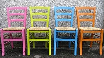 Spazio casa set 4 sedie in legno di faggio con seduta paglia