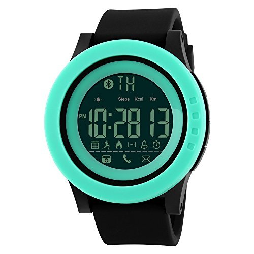 Multifunction Bluetooth Smart Sport Watches, Farsler 50M Waterproof Watch, Calorie Track Pedometer Men's Digital Wirstwatch, Remote Photograph Smart Watch Women's Sports Electronic Watch (Green)