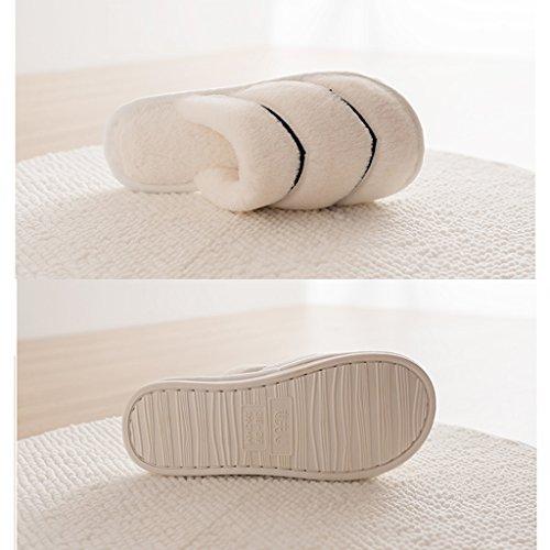 Hausschuhe Baumwolle Pantoffeln Dame Verdickt Home Interior Rutschfeste Weiche Sohlen Schuhe Weiß