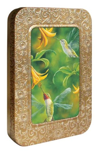 Tree-Free Greetings Noteables Notecards In Reusable Embossed Tin, 12 Card Assortment, Recycled, 4 x 6 Inches, Ruby Wings, Multi Color (76019)