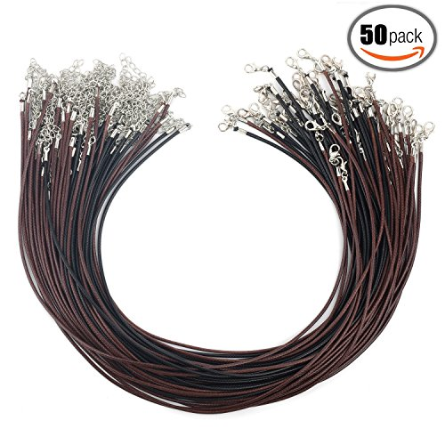 Angela_max 50pcs 18 Inches 1.5mm Black (25pcs) Brown (25pcs) Waxed Cotton Necklace Cord DIY Jewelry Making Ropes with Extension Chain Lobster Claw Clasp for ()