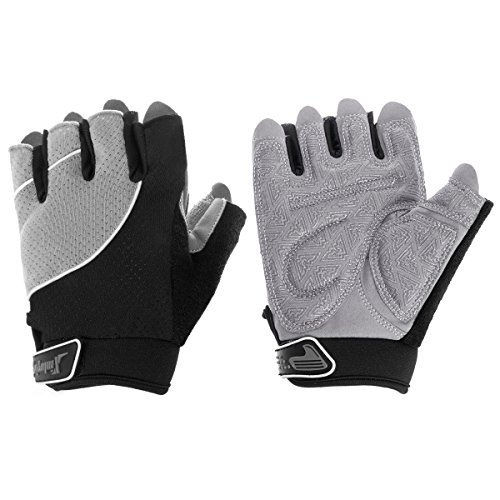 Fypo Cycling Gloves for Men & Women, Half Finger Lightweight Anti-Slip Silica Gel Padded Glove for Gym, Training, Weightlifting, Biking and Workout, Grey (M)