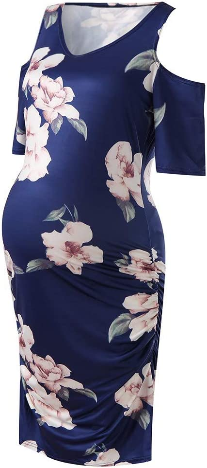 Iusun Womens Maternity Nursing Dress V Neck Print Short Sleeve Sundress Breastfeeding Pregnants for Summer Daily Vacation Holiday